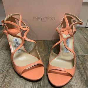 Jimmy Choo Ivette Straply Sandal Peach Patent